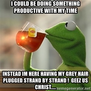 Kermit The Frog Drinking Tea - I could be doing something productive with my time Instead Im here having my grey hair plugged strand by strand !  Geez us christ.....