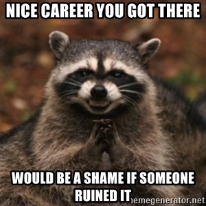 evil raccoon - Nice career you got there Would be a shame if someone ruined it