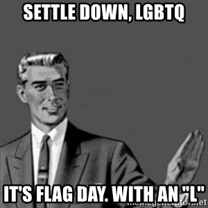 "Correction Guy - Settle down, LGBTQ It's Flag Day. With an ""L"""
