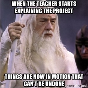 White Gandalf - When the teacher starts explaining the project Things are now in motion that can't be undone