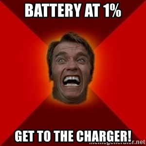 Angry Arnold - Battery at 1% Get to the charger!