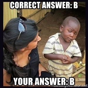 Skeptical third-world kid - Correct answer: B your answer: B