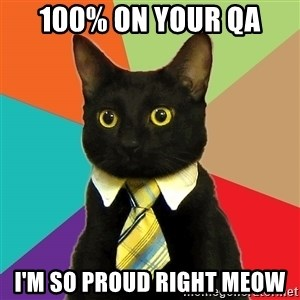 Business Cat - 100% on your QA I'm so proud right meow
