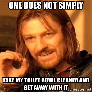 One Does Not Simply - one does not simply take my toilet bowl cleaner and get away with it