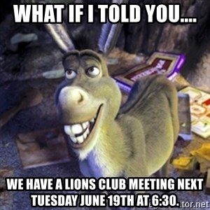 Donkey Shrek - What if I told you.... We have a Lions Club meeting next Tuesday June 19th at 6:30.