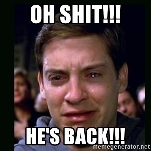 crying peter parker - oh shit!!! he's back!!!