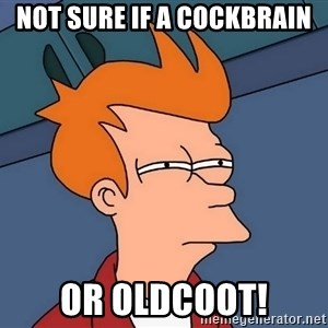 Futurama Fry - Not sure if a cockbrain or Oldcoot!