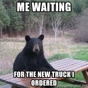 Patient Bear - me waiting for the new truck i ordered