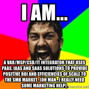 sparta - I am... A var/msp/csb/it integrator that uses paas, iaas and saas solutions to provide positive roi and efficiencies of scale to the smb market.  (Oh man...i really need some marketing help).