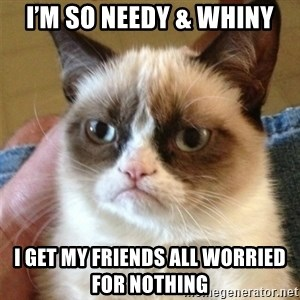 Grumpy Cat  - I'm so needy & whiny I get my friends all worried for nothing