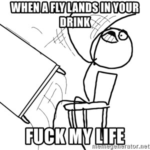 Desk Flip Rage Guy - When a fly lands in your drink  fuck my life
