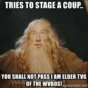 You shall not pass - Tries to stage a coup.. you shall not pass I am elder TVG of the WVBOS!