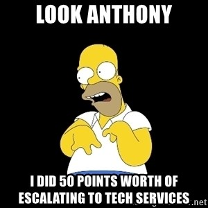 look-marge - Look anthony I did 50 points worth of escalating to Tech Services