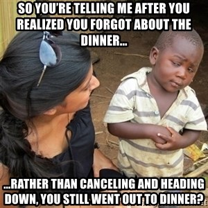 So You're Telling me - So you're telling me after you realized you forgot about the dinner... ...rather than canceling and heading down, you still went out to dinner?