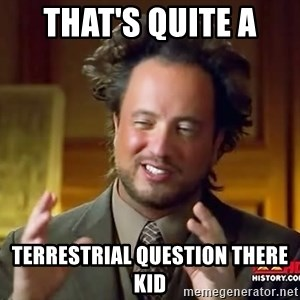 Ancient Aliens - That's quite a  Terrestrial question there kid