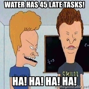 Beavis and butthead - Water Has 45 Late tasks! HA! HA! HA! HA!