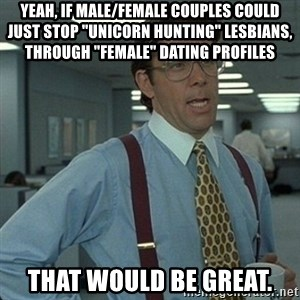 """Yeah that'd be great... - Yeah, if male/female couples could just stop """"unicorn hunting"""" lesbians, through """"female"""" dating profiles That would be great."""