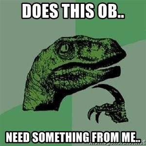 Philosoraptor - DOES THIS OB.. NEED SOMETHING FROM ME..