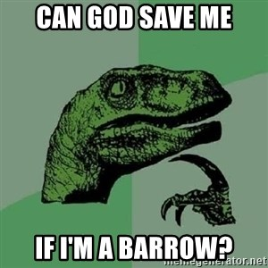 Philosoraptor - can god save me if i'm a barrow?