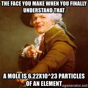 Joseph Ducreux - The face you make when you finally understand that a mole is 6.22x10^23 particles of an element