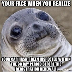 Awkward Seal - Your face when you realize your car hasn't been inspected within the 90 day period before the registration renewal!