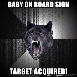 Insanity Wolf - baby on board sign target acquired!