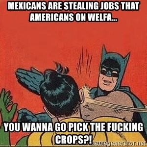 batman slap robin - Mexicans are stealing jobs that Americans on welfa... You wanna go pick the fucking crops?!