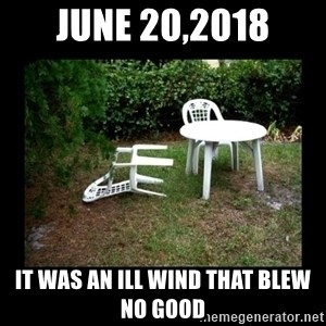 Lawn Chair Blown Over - June 20,2018 It was an ill wind that blew no good