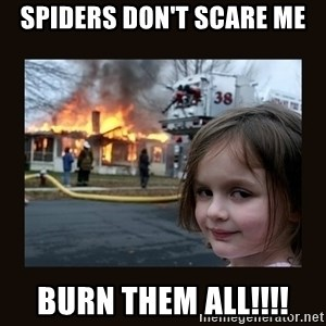 burning house girl - Spiders Don't Scare Me Burn them All!!!!