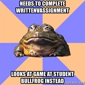 Game Art Student Bullfrog - Needs to complete writtenvassignment Looks at game at student bullfrog instead