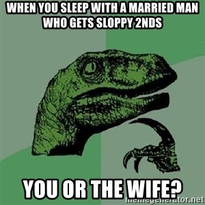 Philosoraptor - When you sleep with a married man who gets sloppy 2nds You or the wife?