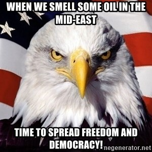 American Pride Eagle - When we smell some oil in the mid-east Time to spread freedom and democracy!