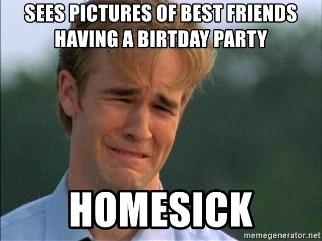 Dawson Crying - sees pictures of best friends having a birtday party homesick
