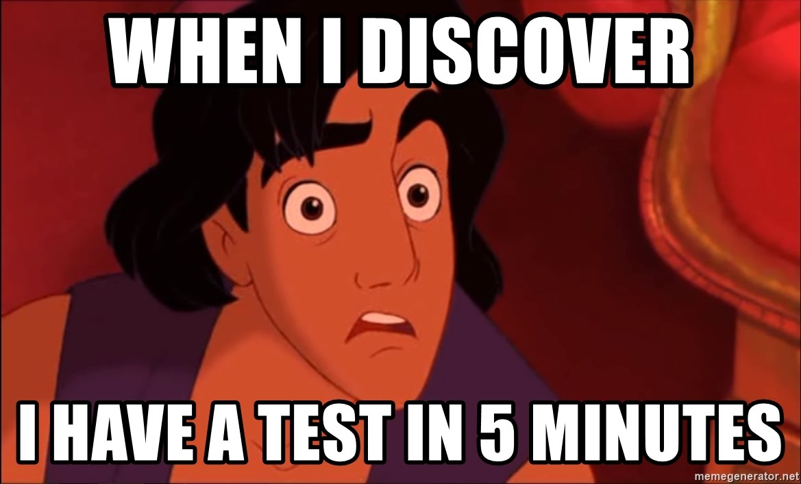 Horrified Aladdin - When I discover I have a test in 5 minutes