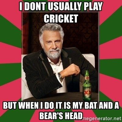 i dont usually - i dont usually play cricket but when i do it is my bat and a bear's head