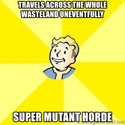 Fallout 3 - travels across the whole wasteland uneventfully super mutant horde