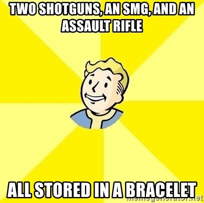 Fallout 3 - two shotguns, an smg, and an assault rifle all stored in a bracelet