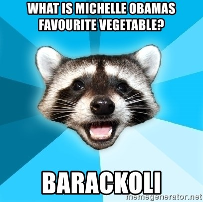 Lame Pun Coon - WHAT IS MICHELLE OBAMAS FAVOURITE VEGETABLE? BARACKOLI