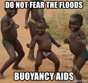 african children dancing - do not fear the floods buoyancy aids