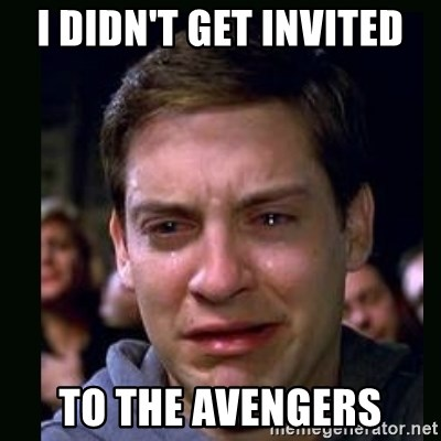 crying peter parker - i didn't get invited to the avengers