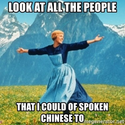 Sound Of Music Lady - LOOK AT ALL THE PEOPLE THAT I COULD OF SPOKEN CHINESE TO