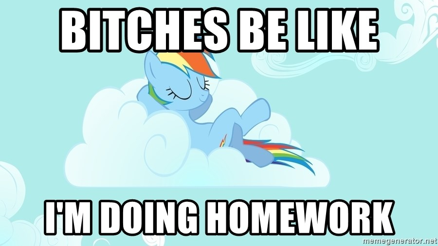 Rainbow Dash Cloud - Bitches be like I'M DOING HOMEWORK