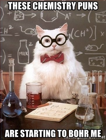 Chemist cat - These chemistry puns are starting to bohr me