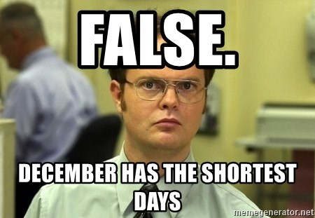 Dwight Schrute - False. December has the Shortest Days
