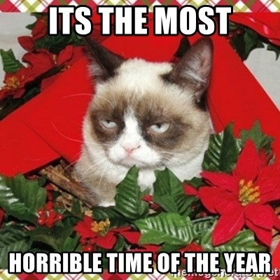 Grumpy Christmas Cat - Its the most horrible time of the year