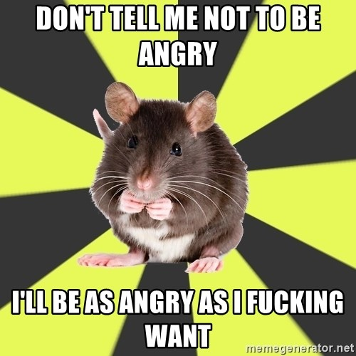 Survivor Rat - DON'T TELL ME NOT TO BE ANGRY I'LL BE AS ANGRY AS I FUCKING WANT