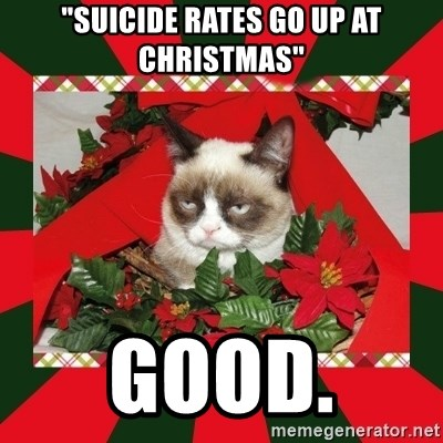 """GRUMPY CAT ON CHRISTMAS - """"suicide rates go up at chRistmas"""" good."""