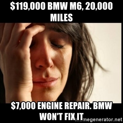 First World Problems - $119,000 BMW M6, 20,000 Miles $7,000 ENgine repair. Bmw won't fix it