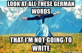 Look at all these - look at all these german words That i'm not going to write