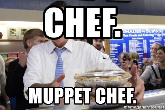 Romney with pies - chef. MUPPET CHEF.